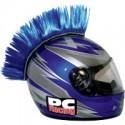 Crete BLEUE Mohawk pour casque moto PC Racing